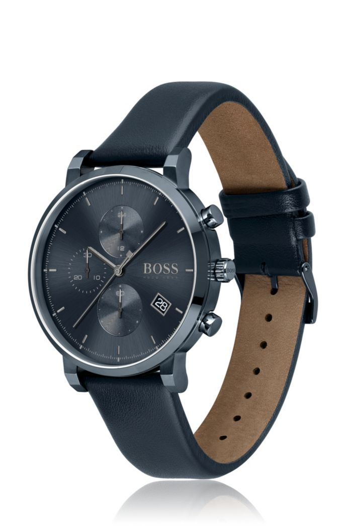 Blue-plated chronograph watch with tonal leather strap
