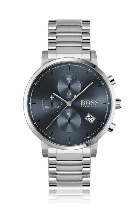 Stainless-steel chronograph watch with blue dial and link bracelet, Assorted-Pre-Pack