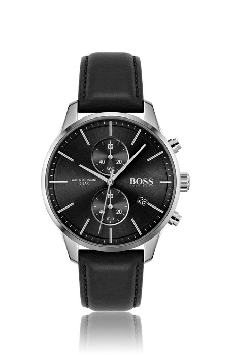 Black dial chronograph watch with black leather strap, Assorted-Pre-Pack