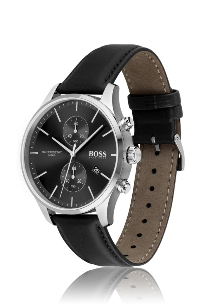 Black dial chronograph watch with black leather strap