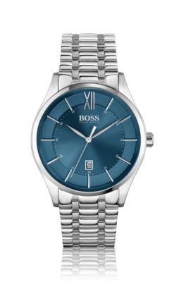 Stainless-steel watch with blue dial and link bracelet, Assorted-Pre-Pack