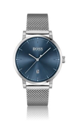 Mesh-bracelet watch with blue dial, Assorted-Pre-Pack