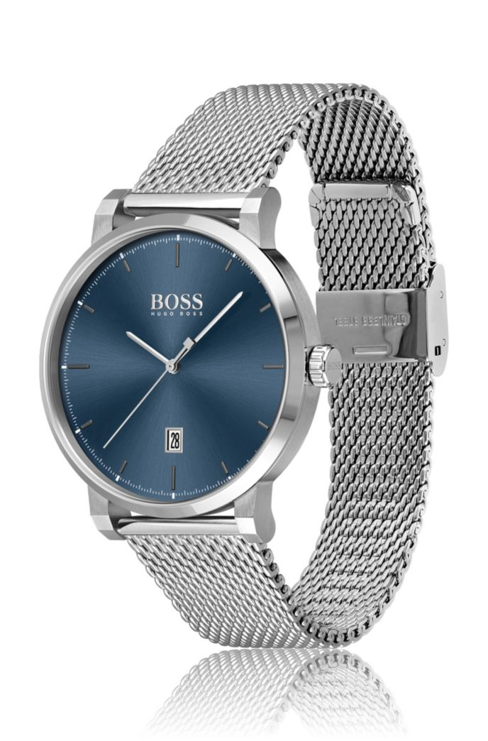 Mesh-bracelet watch with blue dial