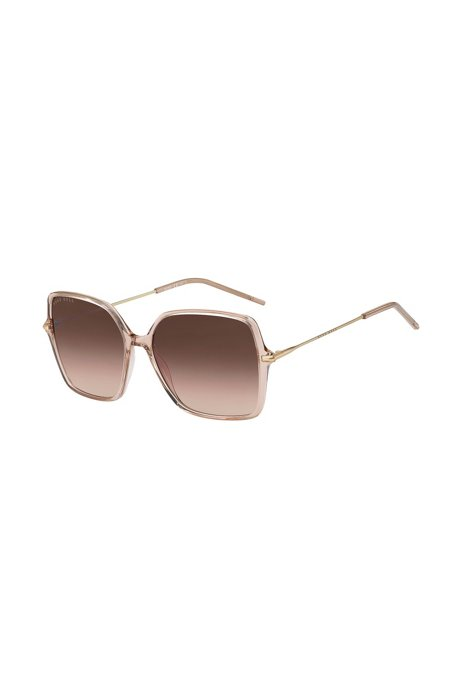 Sunglasses in nude acetate with brown shaded lenses, Assorted-Pre-Pack