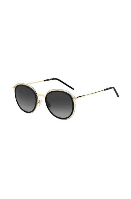 Hybrid sunglasses in gold-tone metal and black acetate, Assorted-Pre-Pack