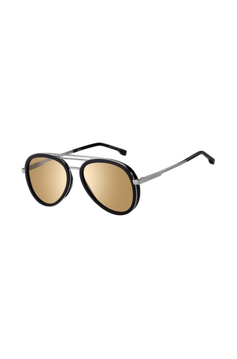 Triple-bridge sunglasses with black and silver-tone frames, Assorted-Pre-Pack
