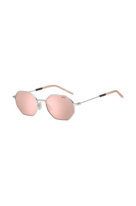 Geometric-frame sunglasses with violet mirrored lenses, Assorted-Pre-Pack