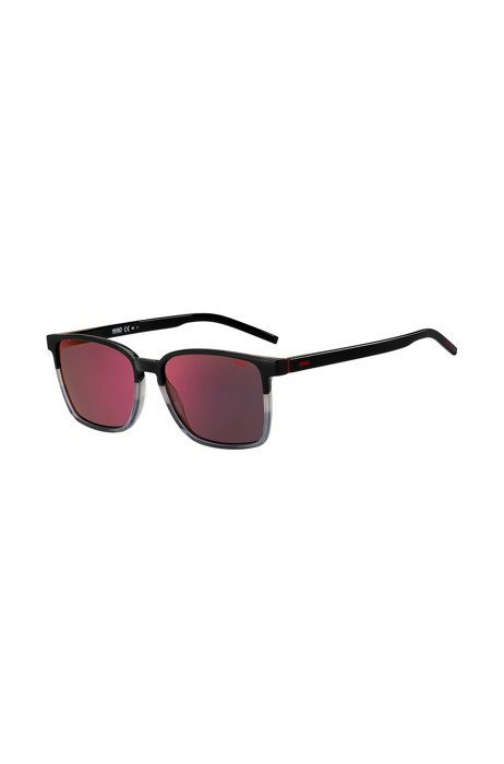 Angular sunglasses with color-blocking and red mirrored lenses, Assorted-Pre-Pack