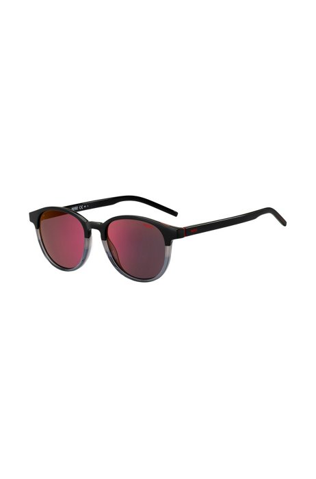 Round sunglasses with color-blocking and red mirrored lenses, Assorted-Pre-Pack