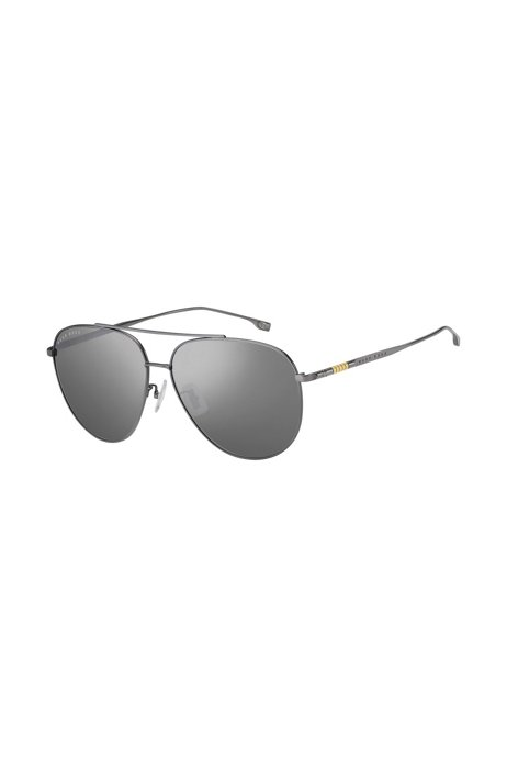 Double-bridge sunglasses with silver mirrored lenses, Assorted-Pre-Pack