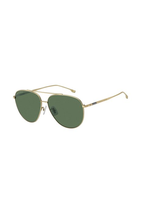 Lightweight sunglasses with gold-tone frames and green lenses, Assorted-Pre-Pack
