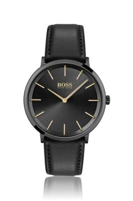 HUGO BOSS HUGO BOSS - BLACK PLATED TWO HAND WATCH WITH LEATHER STRAP