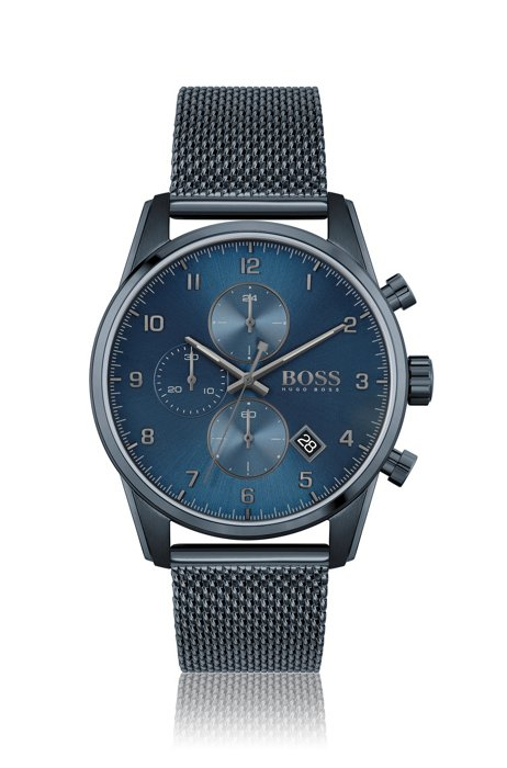 Blue-plated chronograph watch with mesh bracelet, Assorted-Pre-Pack