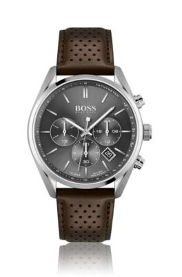 HUGO BOSS HUGO BOSS - CHRONOGRAPH WATCH WITH PERFORATED BROWN LEATHER STRAP