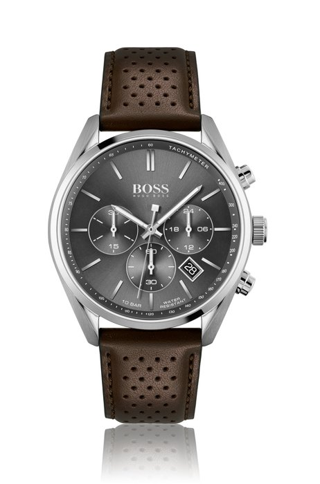 Chronograph watch with perforated brown leather strap, Assorted-Pre-Pack