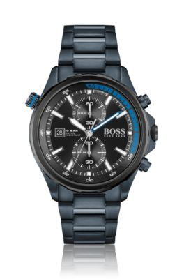 HUGO BOSS HUGO BOSS - BLUE PLATED WATCH WITH BLACK DIAL AND LINK BRACELET
