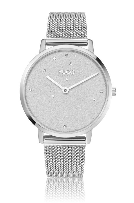 Mesh-bracelet watch with silver finish and Swarovski® crystals, Assorted-Pre-Pack