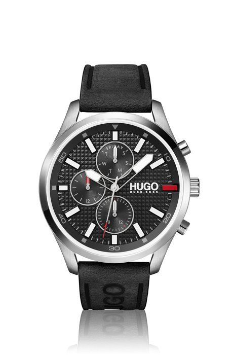 Knurling-dial watch with black leather logo strap, Assorted-Pre-Pack