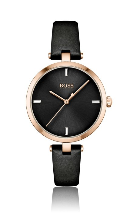 Gold-effect watch with black leather strap, Assorted-Pre-Pack