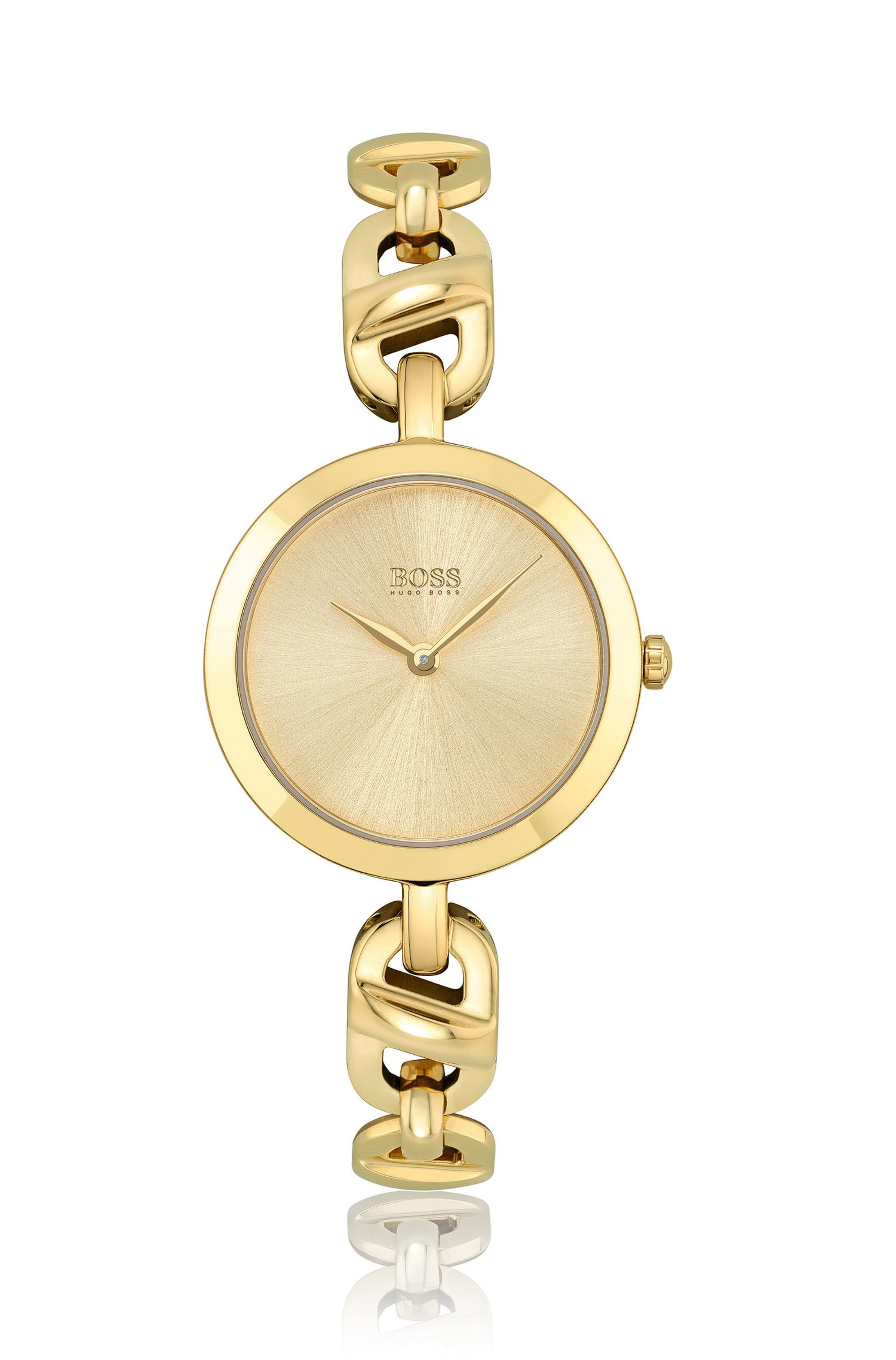 Yellow-gold-effect watch with chain-link bracelet, Assorted-Pre-Pack