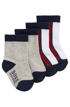 'J00061' | Two Pack Striped and Colorblock Socks, Light Grey