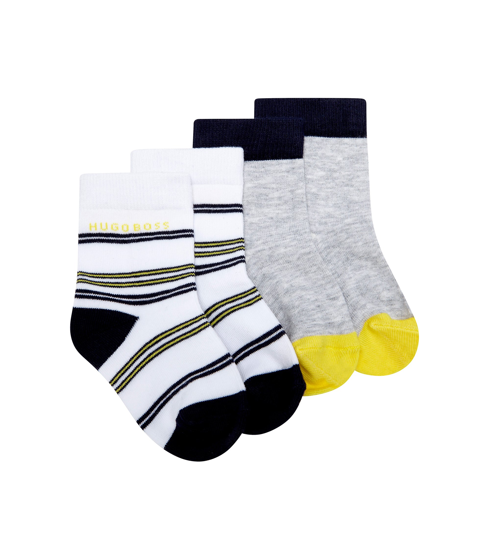 'J00073' | Two Pack Striped and Colorblock Socks, White