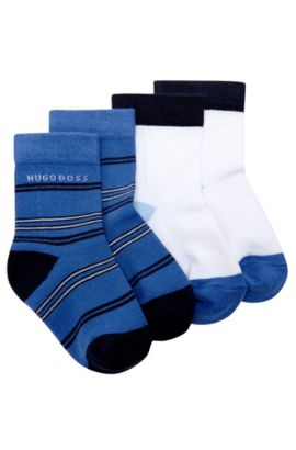 'J00073' | Two Pack Striped and Colorblock Socks, Blue