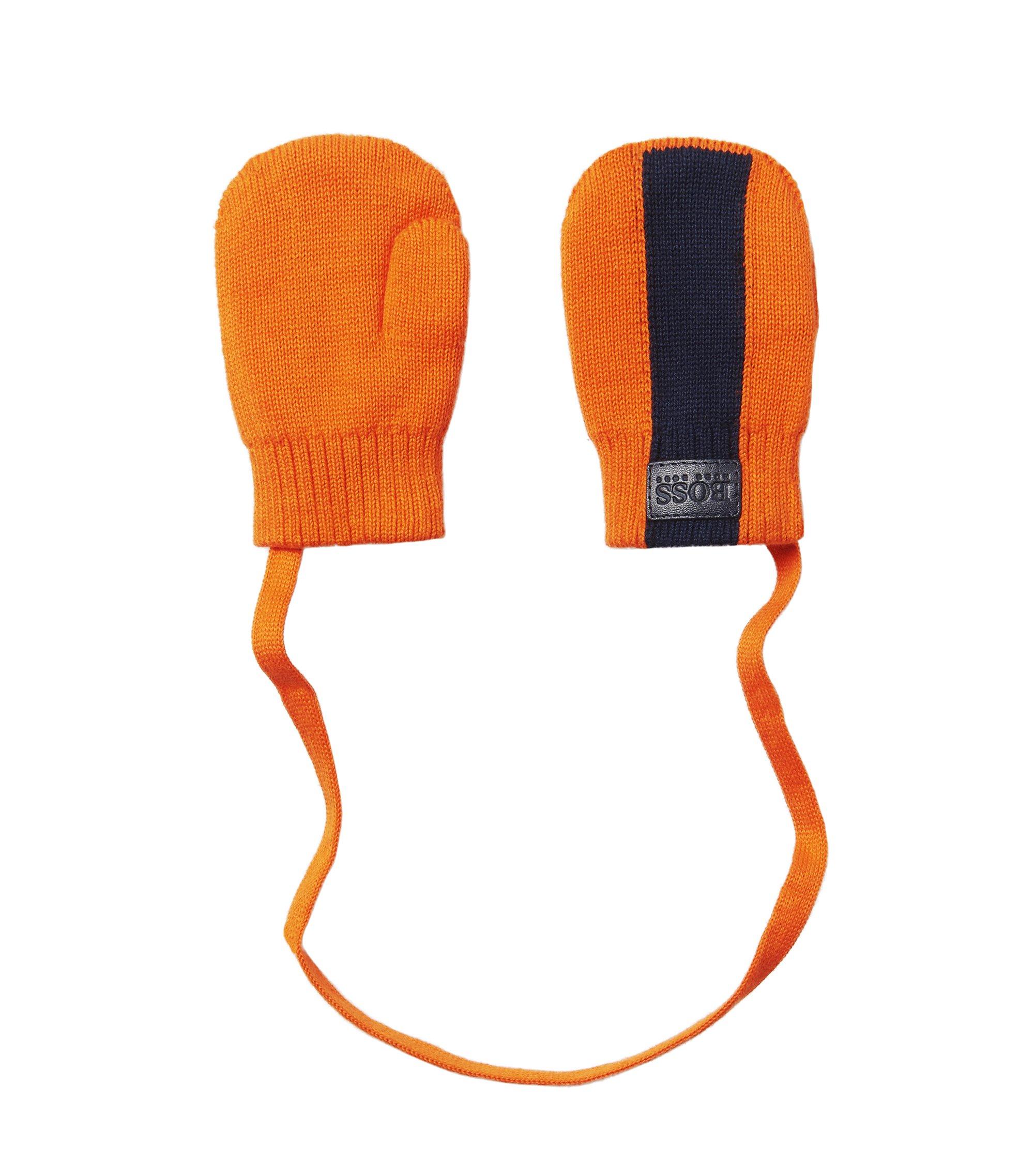 'J01082' | Cotton Attached Mittens, Orange