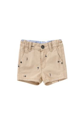 'J04219' | Boys Cotton Embroidered Shorts, Beige