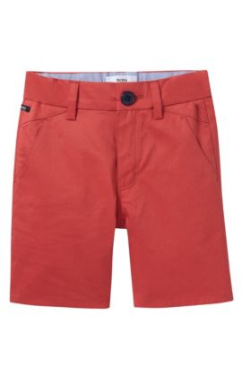 'J04221' | Toddler Cotton Satin Weave Shorts, Red