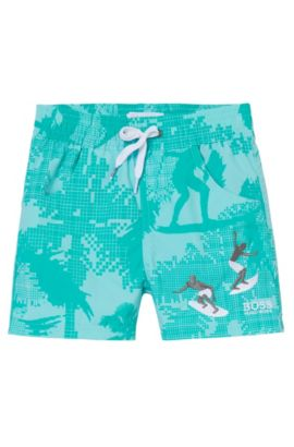 'J04229'   Toddler Cotton Swim Trunks, Green