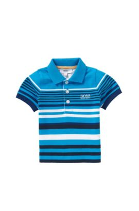 'J05444' | Toddler Stretch Cotton Striped Polo Shirt, Turquoise