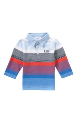 'J05449' | Cotton Striped Polo Shirt, Light Blue