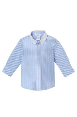 'J05467' | Toddler Cotton Striped Button Down Shirt, Blue