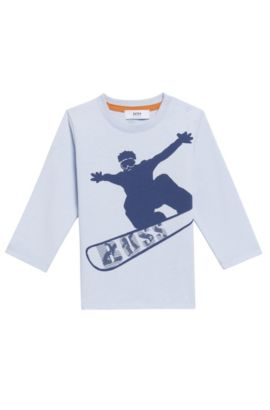 'J05504' | Toddler Stretch Cotton Blend Long Sleeve T-Shirt, Light Blue