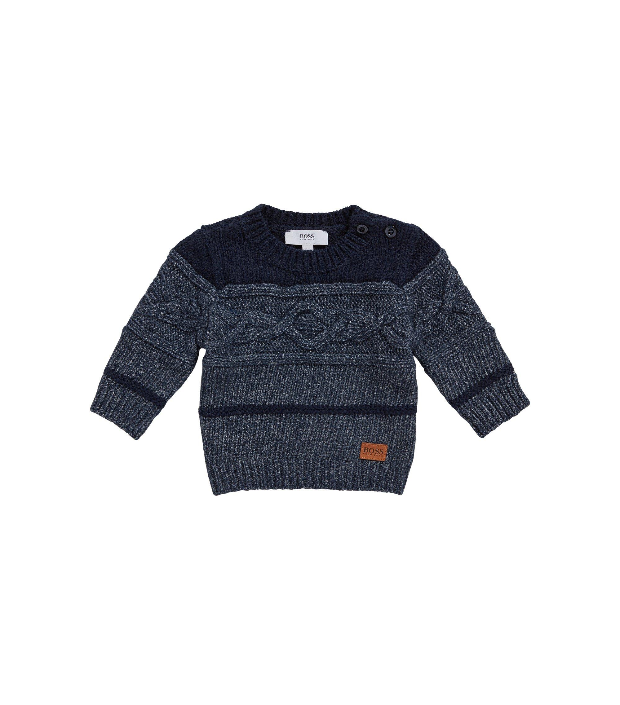 'J05516' | Toddler Stretch Cotton Blend Patterned Sweater, Dark Blue