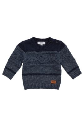 'J05516' | Toddler Stretch Cotton Blend Patterned Sweater, Dark Blue