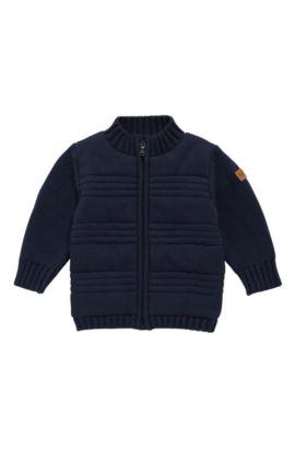 'J05522'   Toddler Stretch Cotton Blend Zip Cardigan, Dark Blue