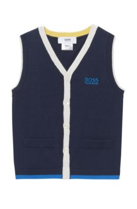 'J05523' | Toddler Stretch Cotton Blend Sweater Vest, Dark Blue