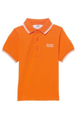 'J05V40' | Toddler Cotton Wool Pique Polo Shirt, Orange