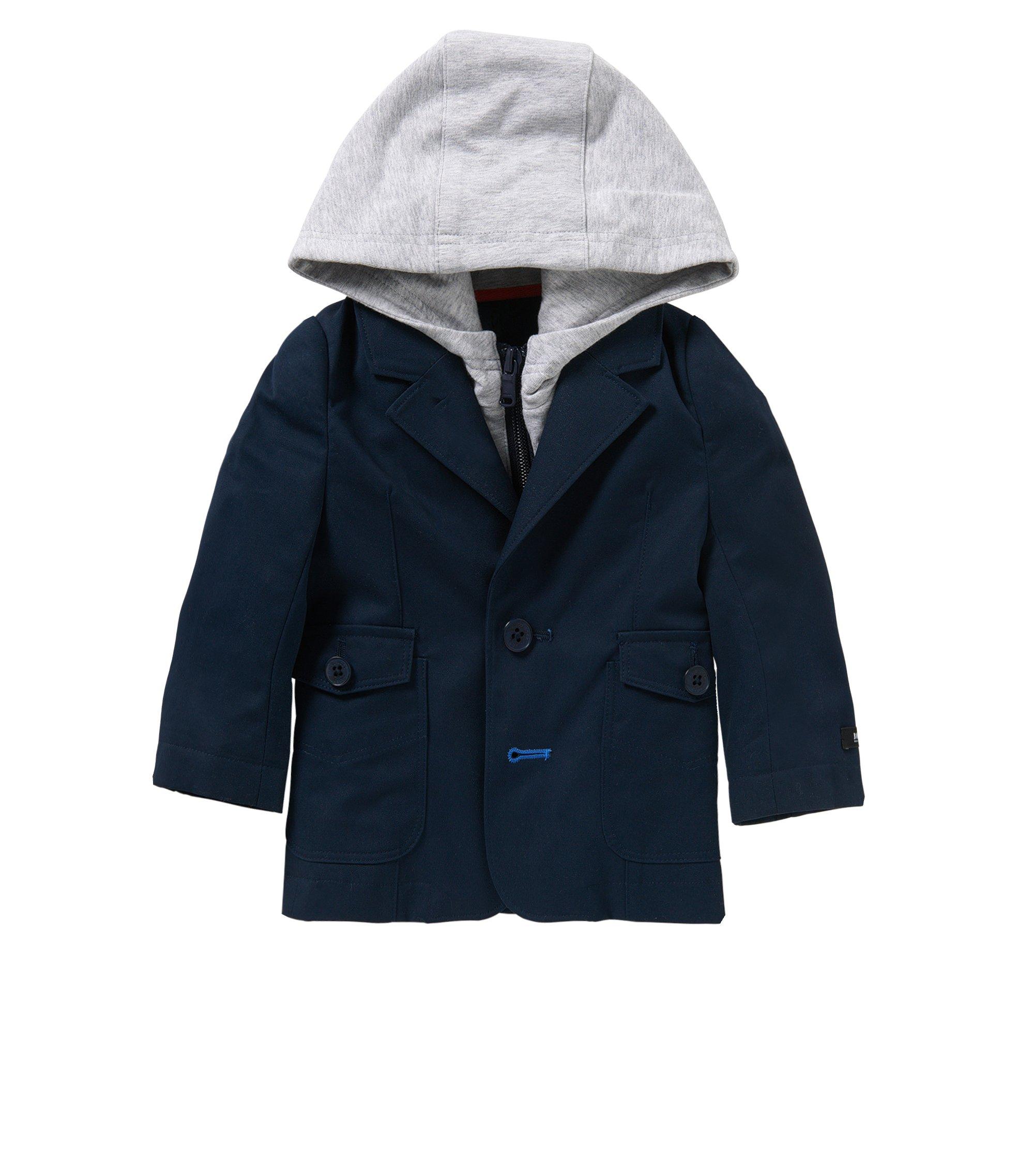 'J06138'   Newborn Cotton Sport Coat, Detachable Hood, Dark Blue