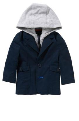 'J06138' | Newborn Cotton Sport Coat, Detachable Hood, Dark Blue