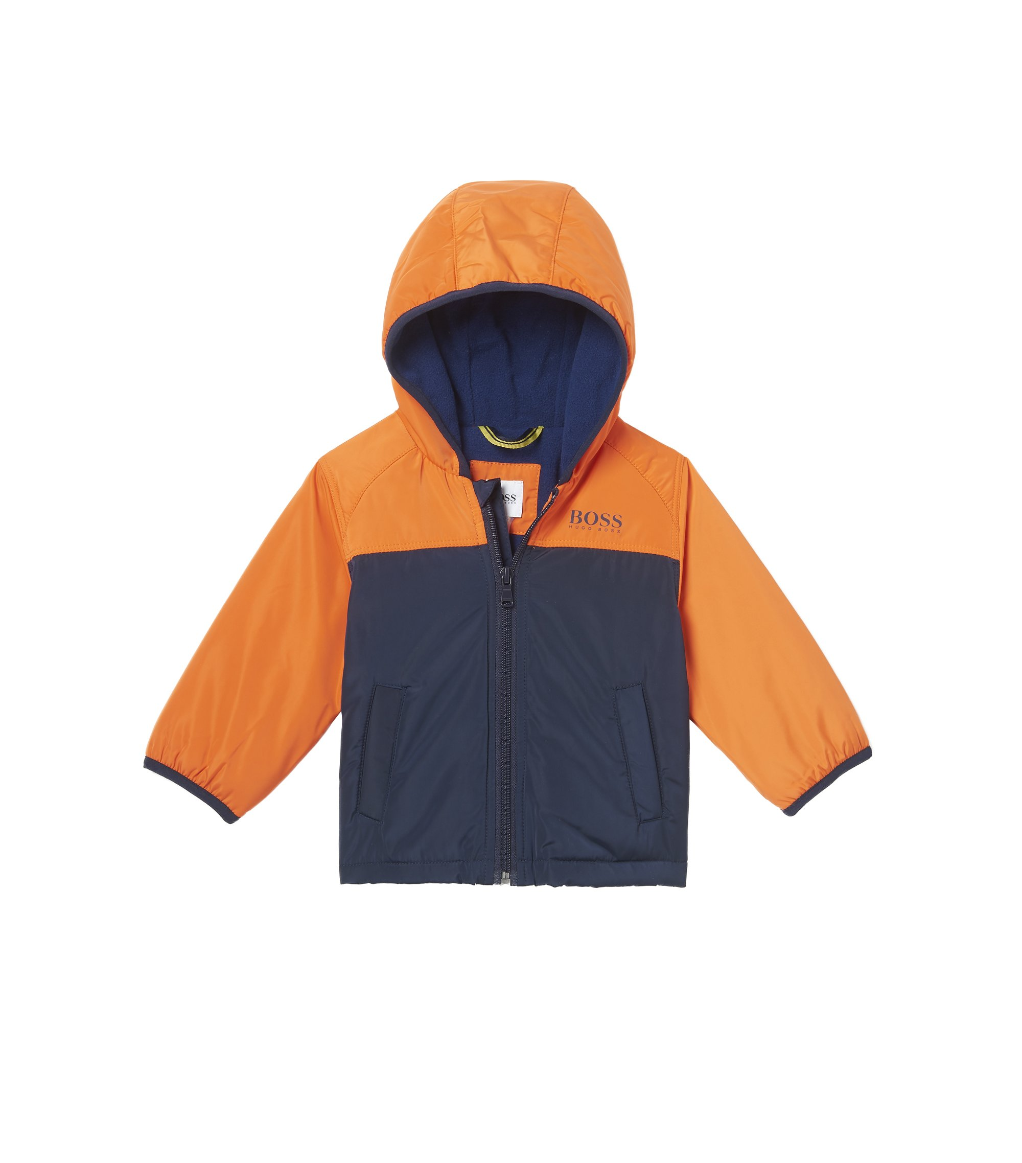 'J06144' | Nylon Fleece Lined Hooded Jacket, Orange