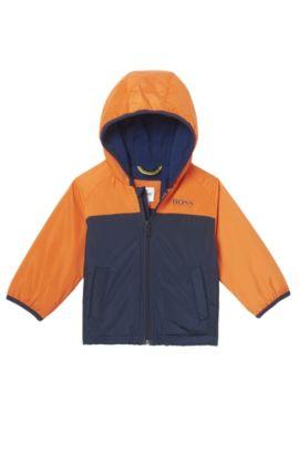 'J06144' | Nylon Fleece Lined Hooded Jacket, Orange