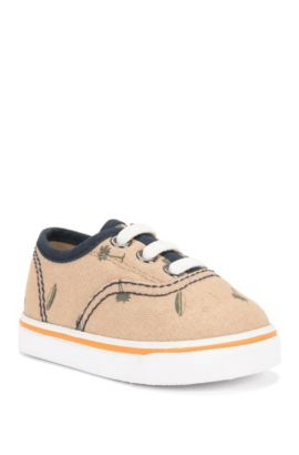 'J09083' | Toddler Cotton Lace-up Sneakers, Beige