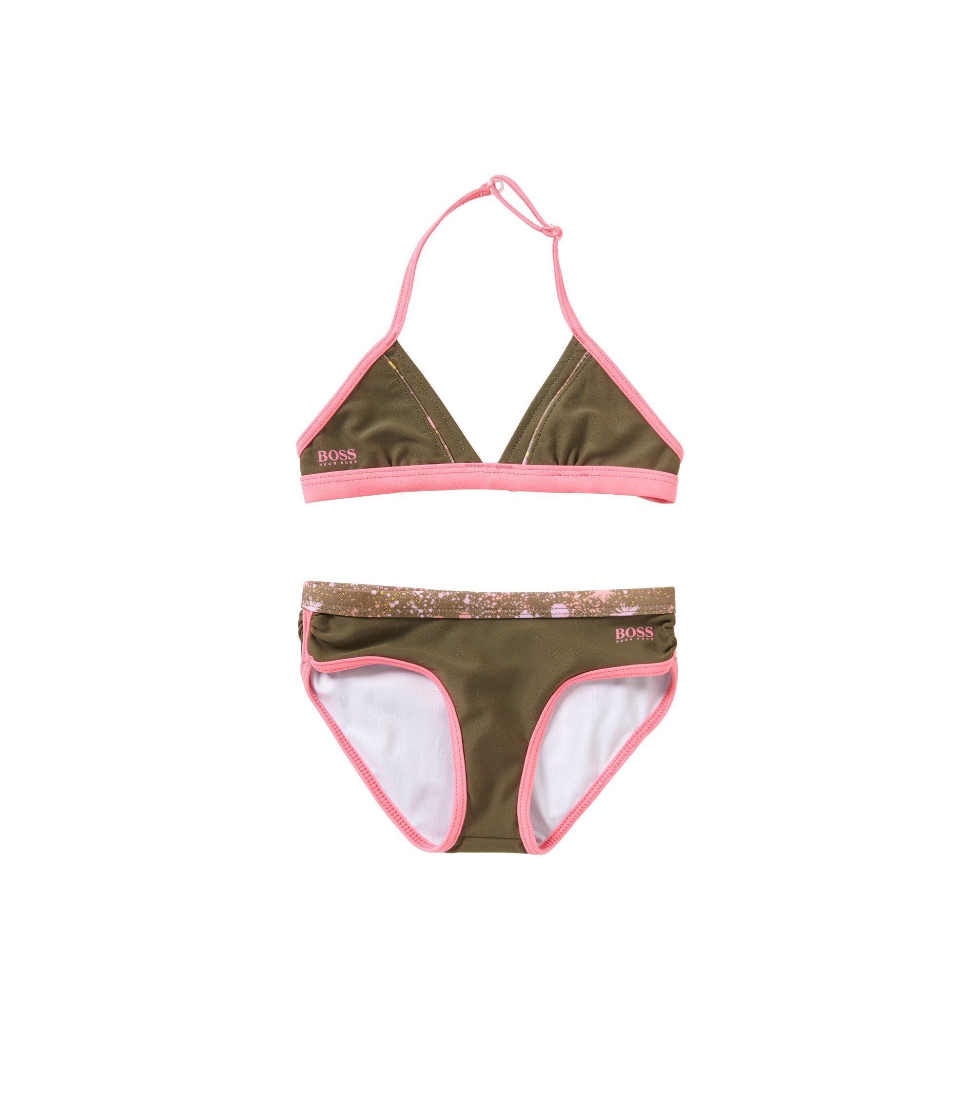 'J10096' |  Girls Stretch Cotton 2-Piece Bathing Suit, Dark Green