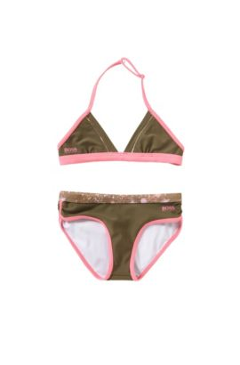 'J10096' |  Girls Stretch Cotton 2-Piece Bathing Suit, Dark Green