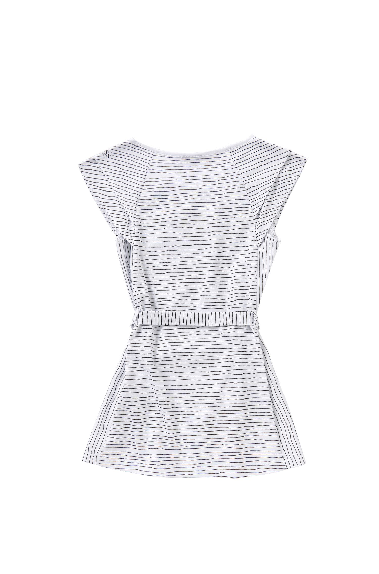 'J12148' | Girls Modal Jersey Belted Striped Dress