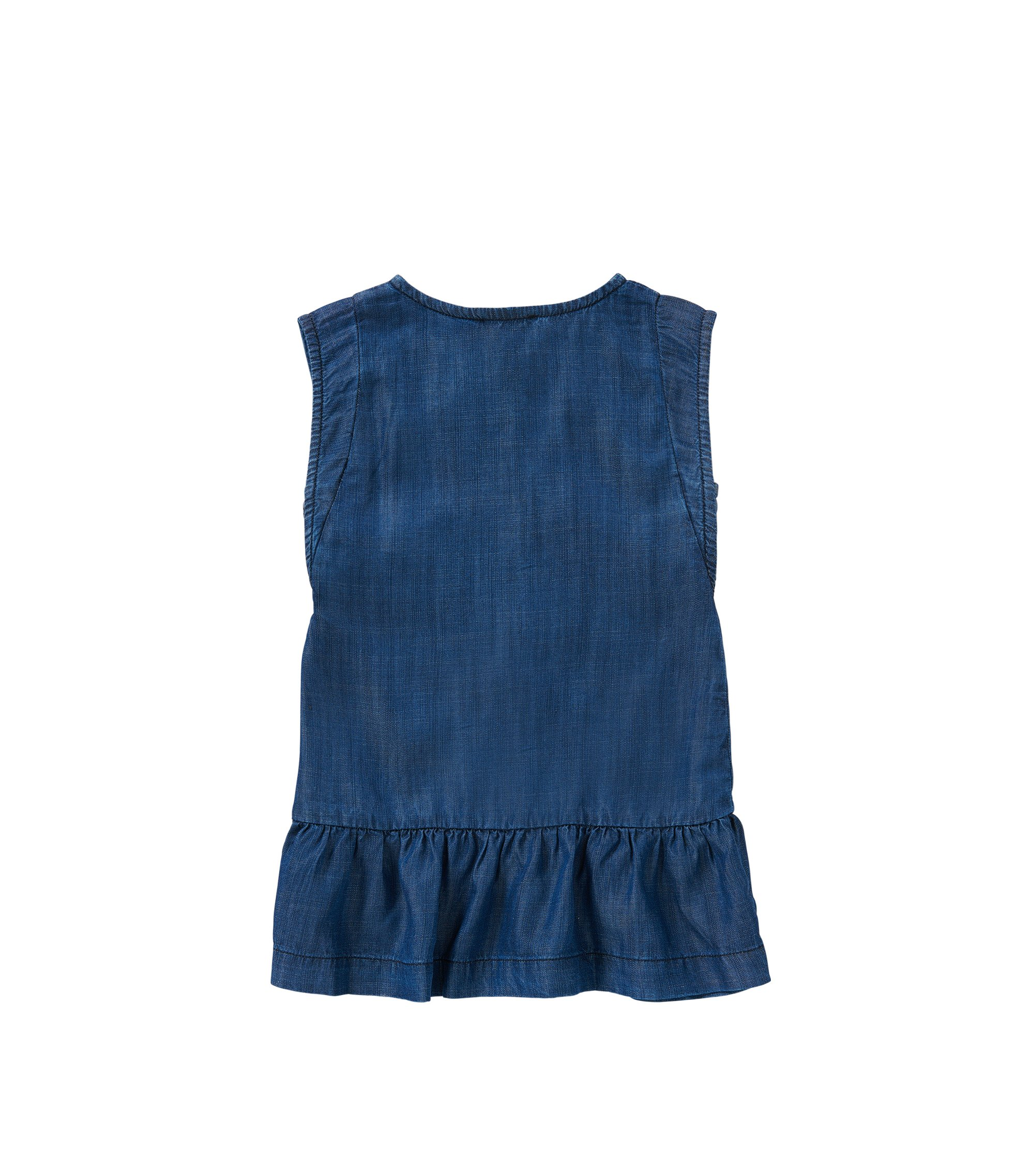 'J12149'   Girls Tencel Denim Buttoned Dress , Patterned