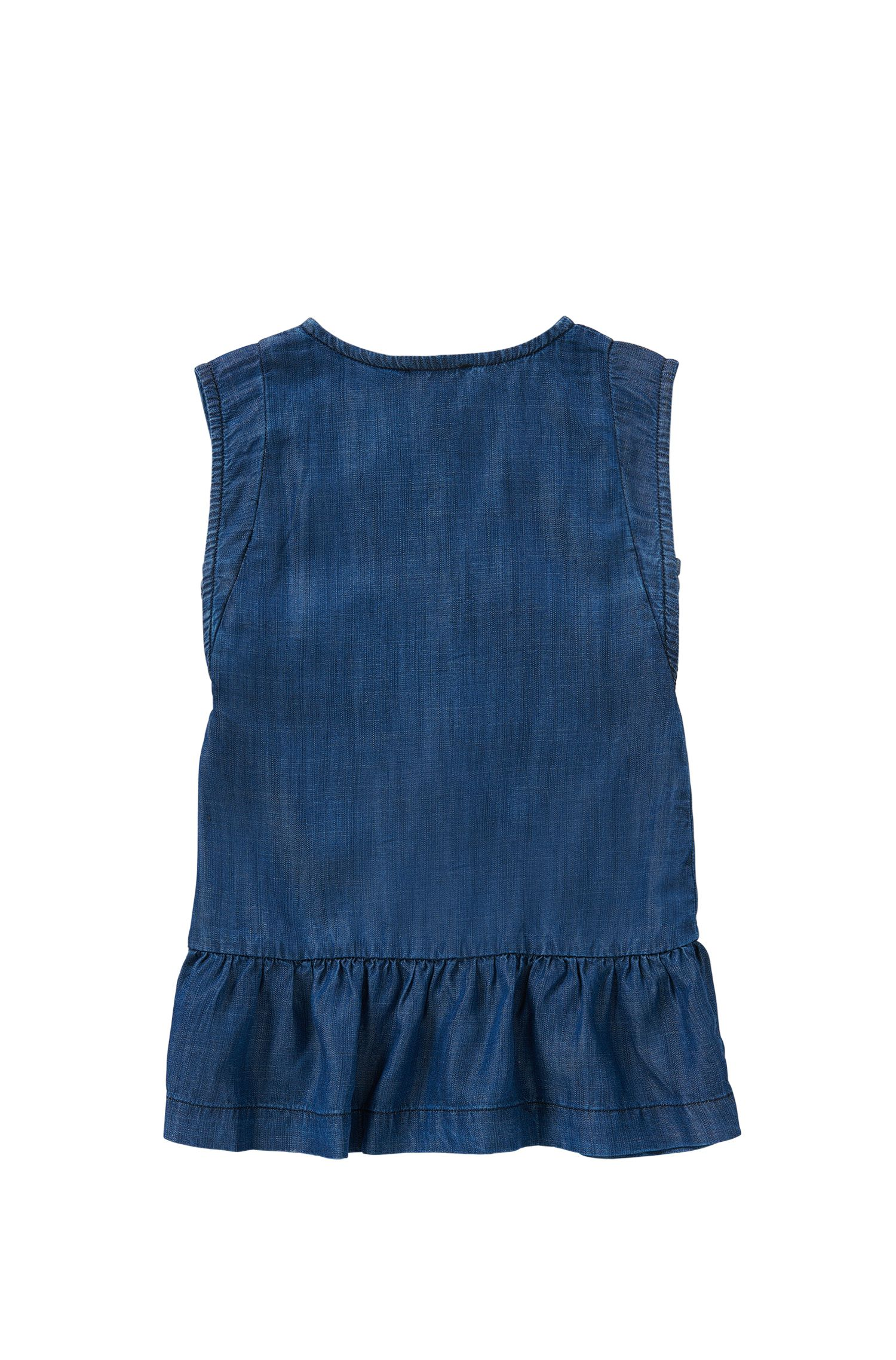 'J12149' | Girls Tencel Denim Buttoned Dress